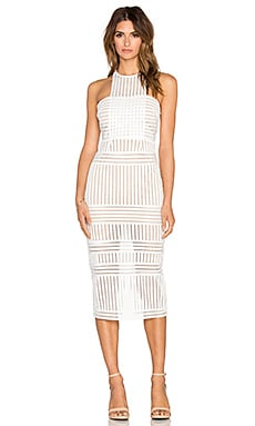 self-portrait Stripe Mesh Column Dress in White & Nude