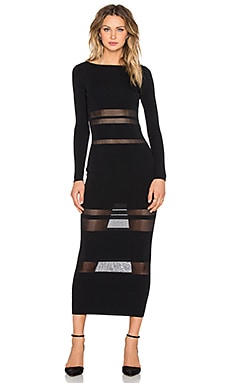 self-portrait Sheer Striped Intarsia Dress in Black