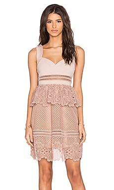 self-portrait Natalia Tiered Dress in Blush Nude & Cream