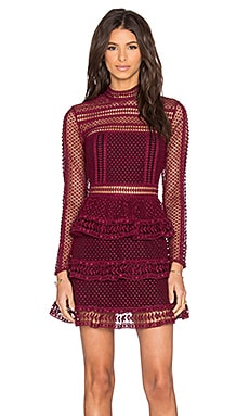 self-portrait High Neck Lace Paneled Dress in Dark Maroon