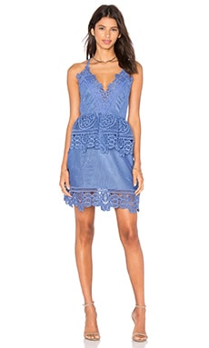 Lace Peplum Dress in Cornflower Blue