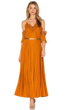 self-portrait Pleated Dress in Camel