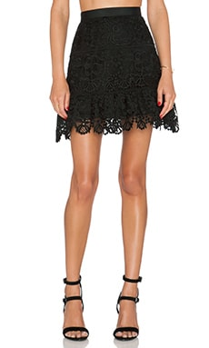 self-portrait Lace Peplum Skirt in Black