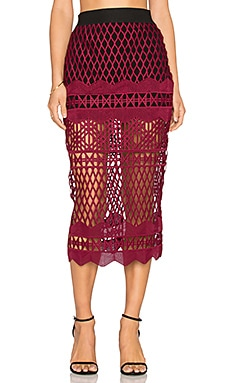 Cut Out Lace Pencil Skirt in Burgundy & Black