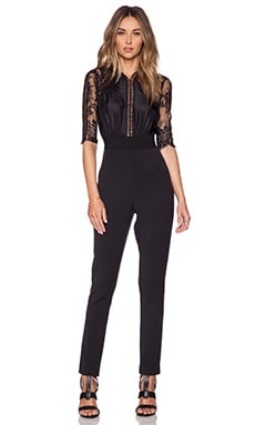 self-portrait Lace Sequence Jumpsuit in Black