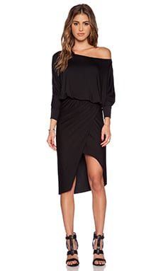 sen Saffron Off the Shoulder Dress in Black