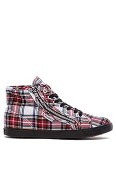 Superga Tartan Plaid Hi Top in Off White Multi