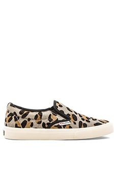 Superga Slip On Cow Hair Sneaker in Leopard