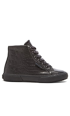 Superga Crocodile Hi Top Sneaker in Total Black