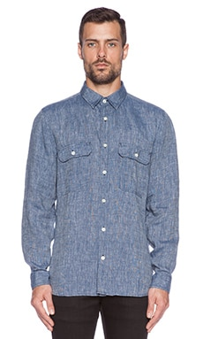 7 For All Mankind Double Patch Pocket Shirt in Blue Grey