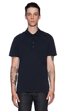 7 For All Mankind Placket Polo in Authentic Navy