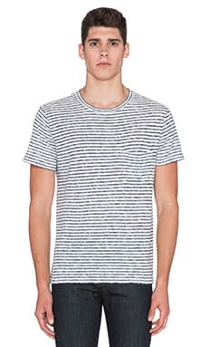 7 For All Mankind Horizontal Stripe Tee in Lake Blue Stripe