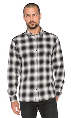 7 For All Mankind Plaid Pocket Shirt in Black