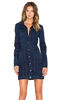 7 For All Mankind Trucker Dress in Dark Rich Vibrant Blue
