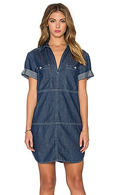 7 For All Mankind V Neck Mini Dress in Authentic Avery Blue