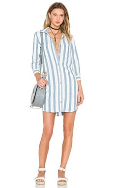 Stripe Shirt Dress in Light Blue & White