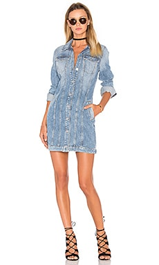 7 For All Mankind Trucker Shirt Dress in Light Brighton Blue