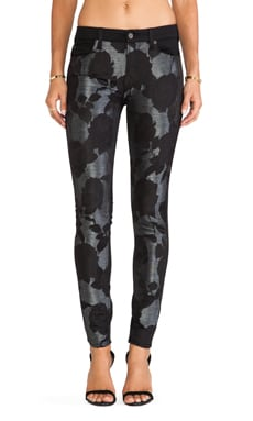 7 For All Mankind Pieced Skinny in Black Grey Floral Shantung