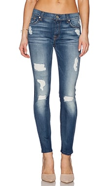 7 For All Mankind Destroyed Ankle Skinny in Distressed Authentic Light 2