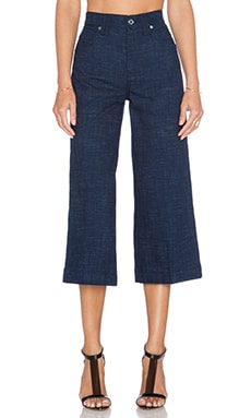 7 For All Mankind Wide Leg Culotte in Indigo Linen Runway Denim