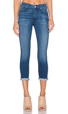 7 For All Mankind Mid Rise Skinny Crop in Lake Dillion Medium Bright
