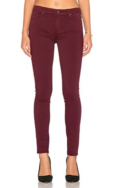 7 For All Mankind Contour Waistband Skinny in Dark Ruby Red