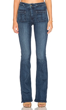7 For All Mankind Braided Flare in Vivid Medium Indigo