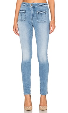 7 For All Mankind Braided Skinny in Light Blue Hue