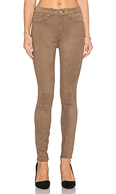 7 For All Mankind HW Knee Seam Ankle Skinny in Mocha Snake