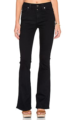 7 For All Mankind Flare in Overdye Black