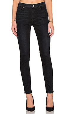 7 For All Mankind Mid Rise Ankle Skinny in Slim Illusion Rich Noir