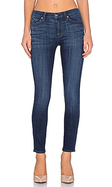 7 For All Mankind Mid Rise Skinny in Royal Broken Twill