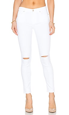 7 For All Mankind The Ankle Knee Holes Skinny in Clean White
