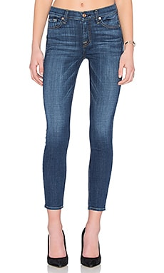 7 For All Mankind The Squiggle Ankle Skinny in Brilliant Blue Broken Twill