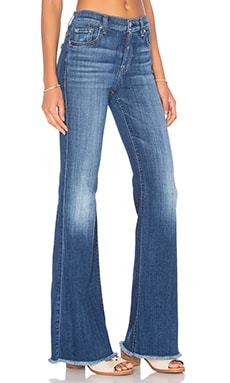 7 For All Mankind Ginger Unfinished Hem Flare in Athens Broken Twill