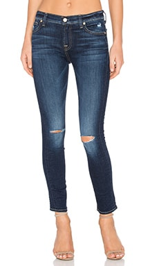 7 For All Mankind The Ankle Knee Hole Skinny in Mykonos Dark Indigo 3