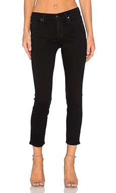 7 For All Mankind Mid Rise Crop Skinny in Slim Illusion Luxe Rich Black