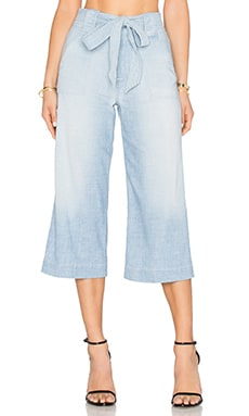 7 For All Mankind Crop Palazzo in Stretch Chambray