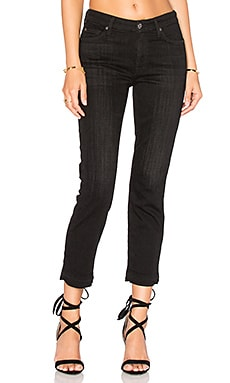 7 For All Mankind Release Hem Straight Ankle in Black Sands Broken Twill