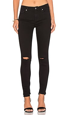 7 For All Mankind Bair Ankle Knee Hole Skinny in Black