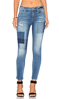 7 For All Mankind Patch Ankle Skinny in Light Patched Denim