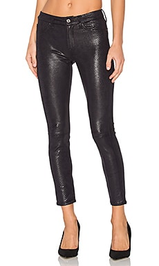 The Knee Seam Ankle Skinny in Black Metal Snake