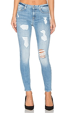 The Sequin Destroy Ankle Skinny in Light Blue