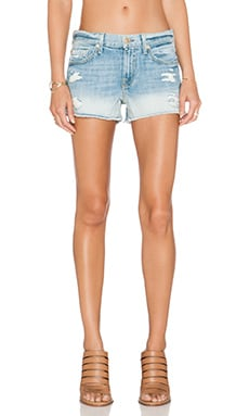 7 For All Mankind Cut Off Distressed Short in Aura Blue Heritage 2