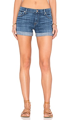 7 For All Mankind Relaxed Mid Roll Up Short in Brilliant Blue Broken Twill