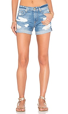Relaxed Distressed Short in Rigid Blue Orchid