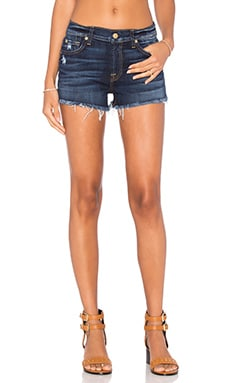 7 For All Mankind Distressed Cut Off Short in Mykonos Dark Indigo