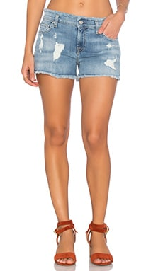 Frayed Edge Cut Off Short in Santorini Light Aqua