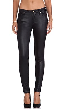 7 For All Mankind Knee Seam Skinny Crackle Leather in Black