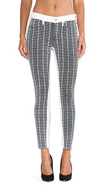 7 For All Mankind Pieced Jacquard Skinny in White Stripe Geo Jacquard